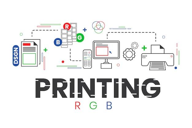 Digitaal drukconcept Premium Vector