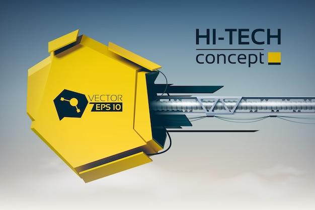 Digitaal futuristisch ontwerpconcept met 3d gele hi-tech constructie op horizontale metalen pijler Gratis Vector