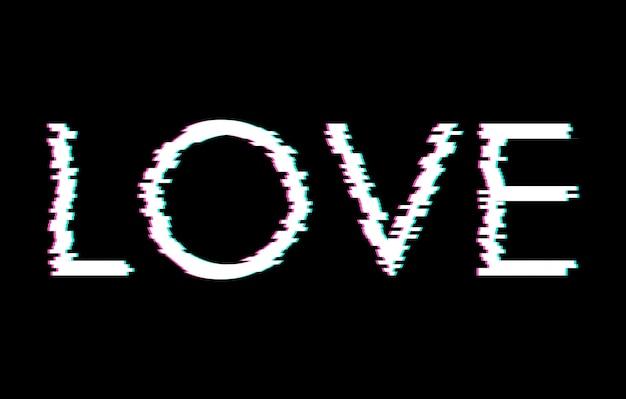 Digitaal glitchwoord liefde Premium Vector