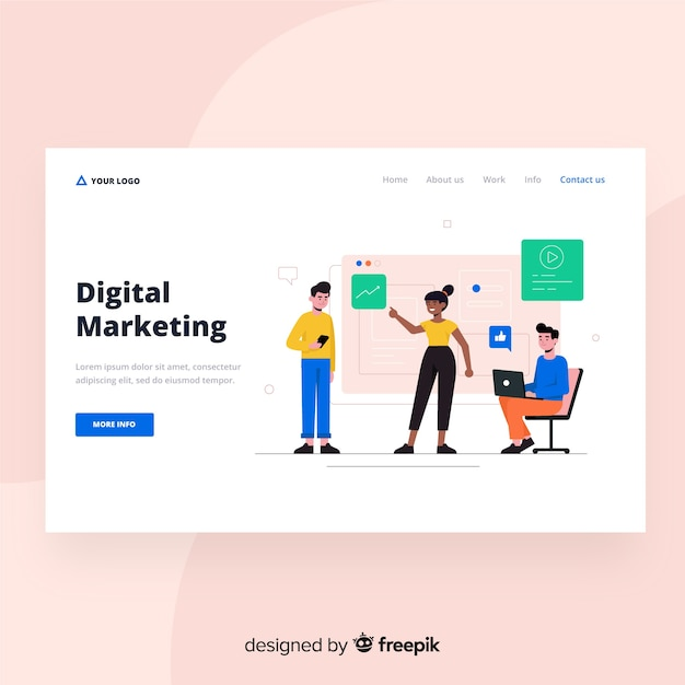 Digitaal marketing bestemmingspagina webontwerp Gratis Vector