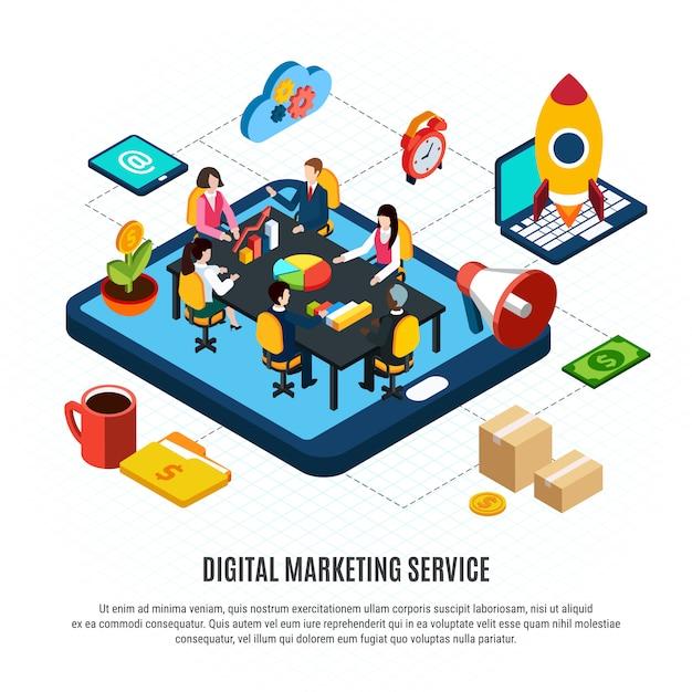 Digitaal marketing isometrisch stroomschema met mensen die aan businessplan 3d vectorillustratie werken Gratis Vector