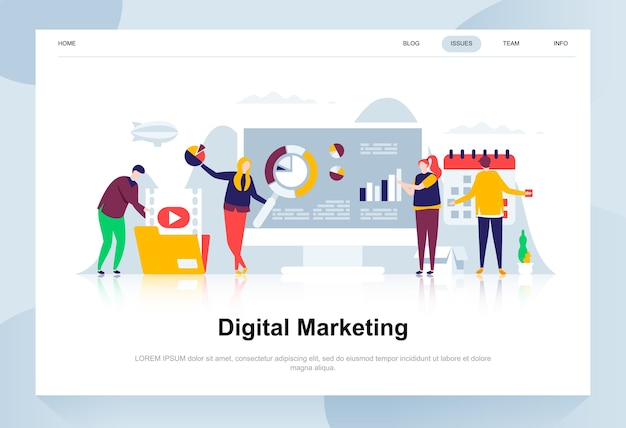 Digitaal marketing moderne platte ontwerpconcept. Premium Vector