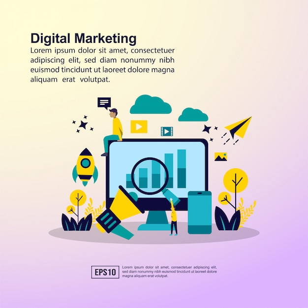 Digitaal marketingconcept Premium Vector
