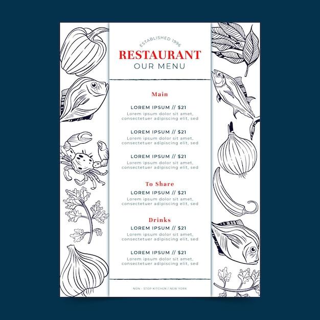 Digitaal menu voor restaurant in verticaal formaat Gratis Vector