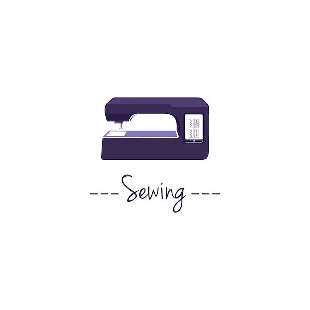 Digitaal naaimachine logo Premium Vector