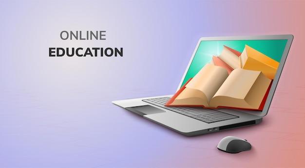 Digitaal online onderwijsconcept en lege ruimte op laptop Gratis Vector