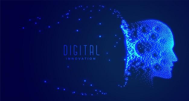 Digitaal particalgezicht kunstmatige intelligentieconcept Gratis Vector