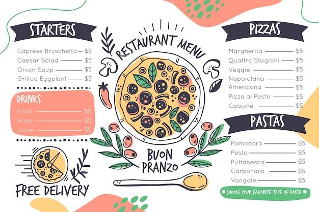 Digitaal restaurantmenu in horizontaal formaat Gratis Vector