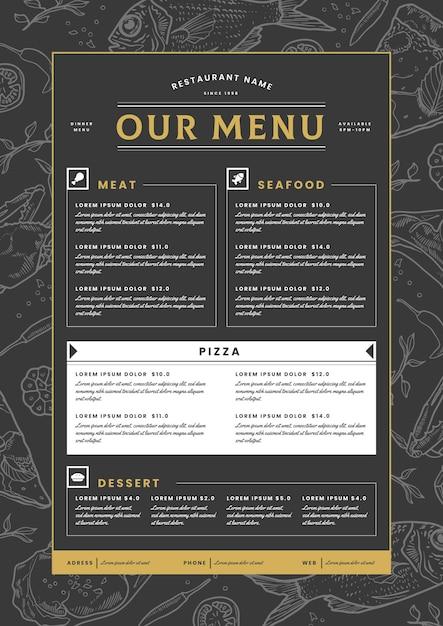 Digitaal restaurantmenu in verticaal formaat Gratis Vector