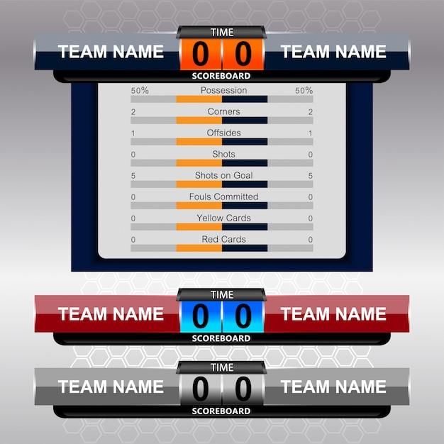 Digitaal scorebord en lower thirds Premium Vector