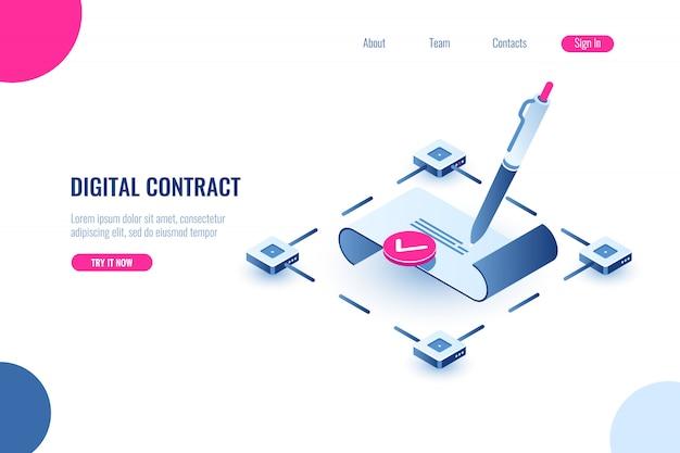 Digitaal slim contract, isometrisch pictogramconcept elektronische handtekening, blockchaintechnologie Gratis Vector