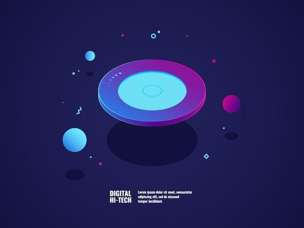 Digitaal technologieconcept, moderne ultraviolette banner, vliegend plaatvoorwerp Gratis Vector