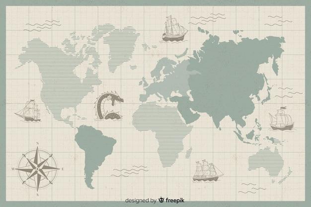 Digitaal vintage wereldkaart concept Gratis Vector