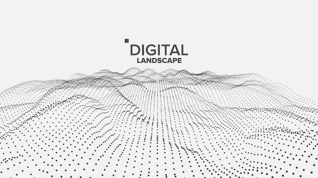 Digitaal wit landschap Premium Vector