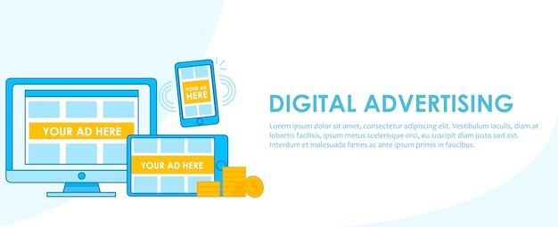 Digital advertising seo banner. computer, telefoon en tablet met adaptief ontwerp met advertenties Gratis Vector