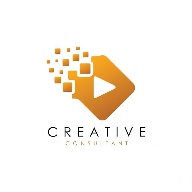 Digital play-logo Premium Vector