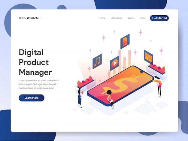 Digital product manager banner van bestemmingspagina Premium Vector