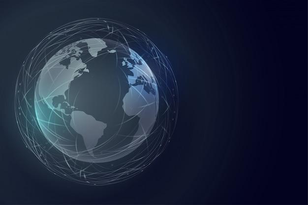 Digitale aarde technologie achtergrond met wereldwijde verbinding Gratis Vector