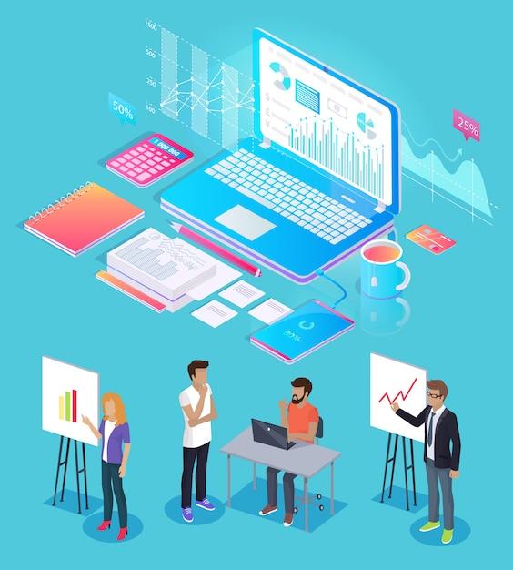 Digitale analytics-mensen plaatsen vectorillustratie Premium Vector