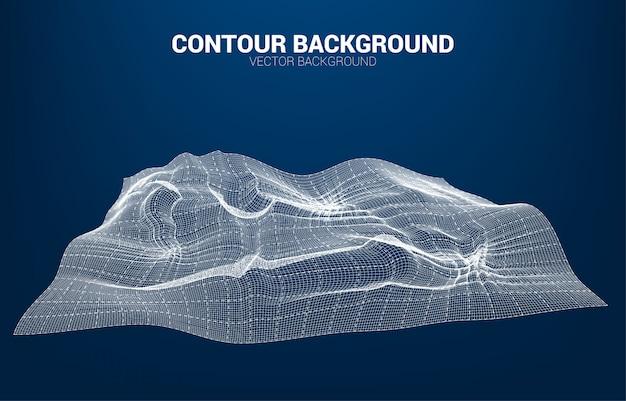 Digitale contourlijn en golf met draadframe. 3d futuristisch technologieconcept Premium Vector