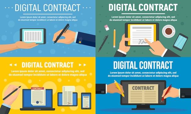 Digitale contractbannerset Premium Vector