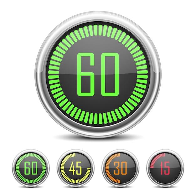 Digitale countdown timer ingesteld Gratis Vector