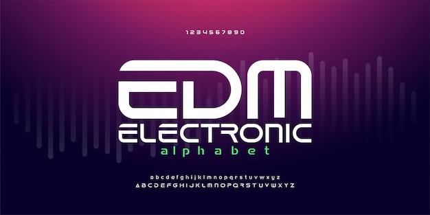 Digitale edm elektronische het alfabetlettertypen van de dansmuziek Premium Vector