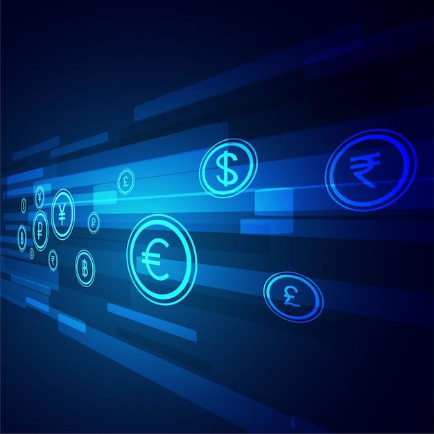 Digitale geld overdracht technologie achtergrond Gratis Vector