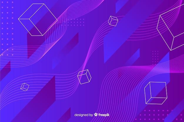Digitale geometrische vormenachtergrond Gratis Vector