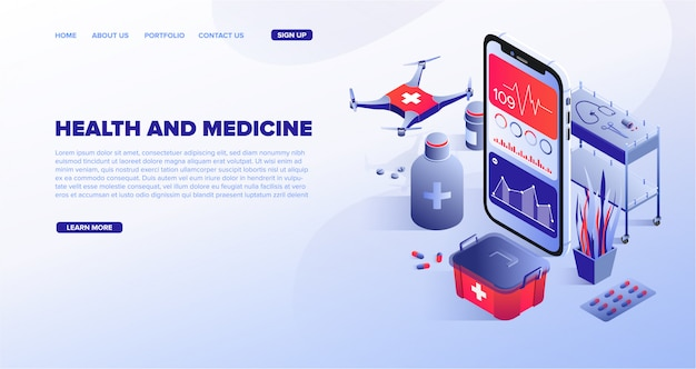 Digitale gezondheid medische technologieën service websjabloon Premium Vector