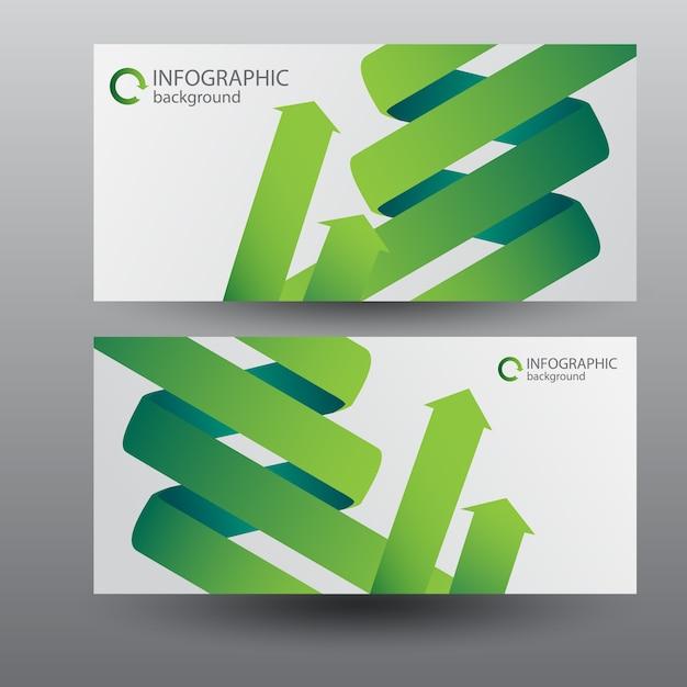 Digitale horizontale banners met groene gebogen lintpijlen Gratis Vector