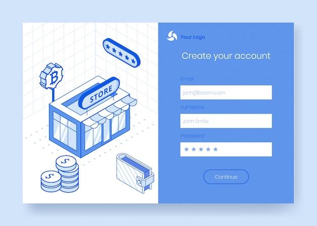 Digitale isometrische ontwerpconceptenreeks van financieel cryptocurrency app 3d pictogram Premium Vector