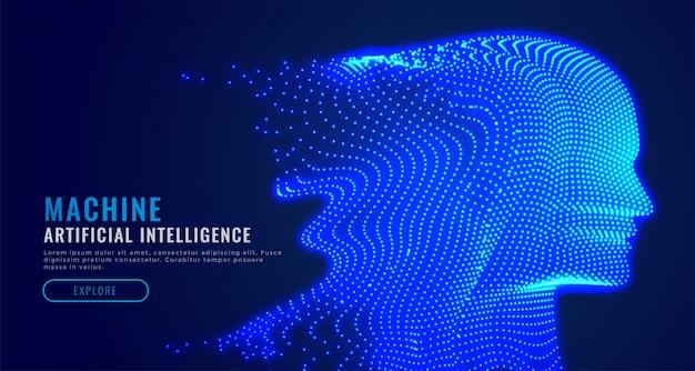 Digitale kunstmatige intelligentie deeltje gezicht Gratis Vector