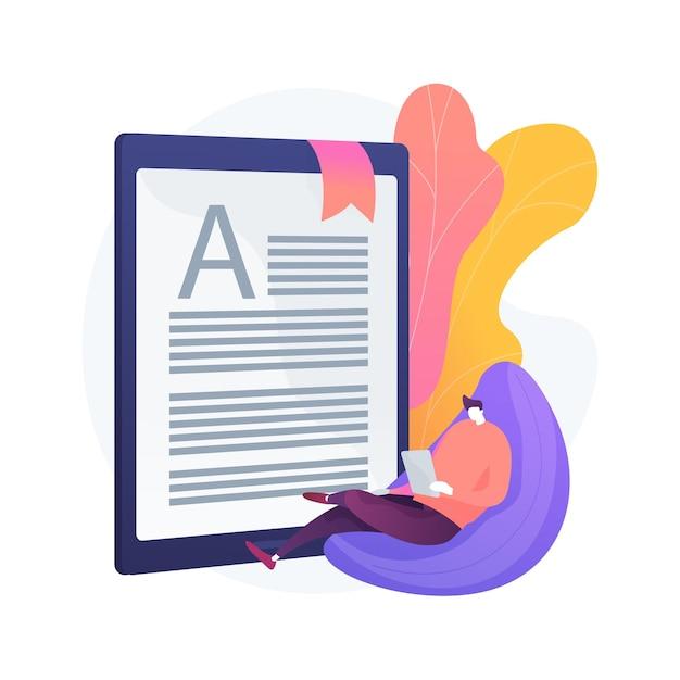 Digitale lezing abstracte concept illustratie. leerboek voor e-klaslokalen, modern onderwijs, mobiel apparaat, mediarijke inhoud, snelle links, elektronisch document, multitasking Gratis Vector