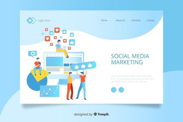 Digitale marketing bestemmingspagina sjabloon Gratis Vector