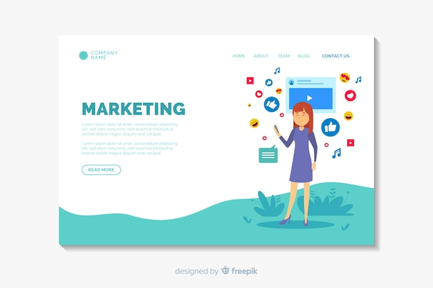 Digitale marketing bestemmingspagina sjabloon Gratis Vector