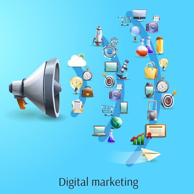 Digitale marketing concept platte banner Gratis Vector