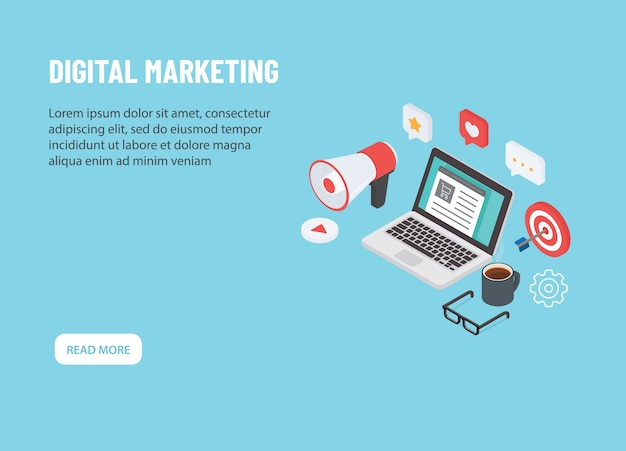 Digitale marketing isometrisch. laptop met online marketing pictogram Premium Vector