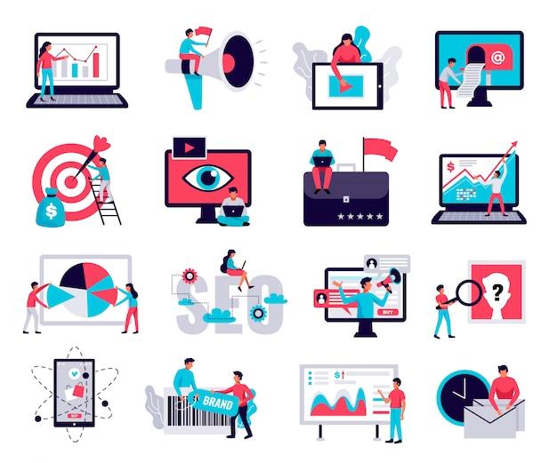 Digitale marketing pictogrammen die met online bedrijf vlak geïsoleerde symbolen worden geplaatst Gratis Vector