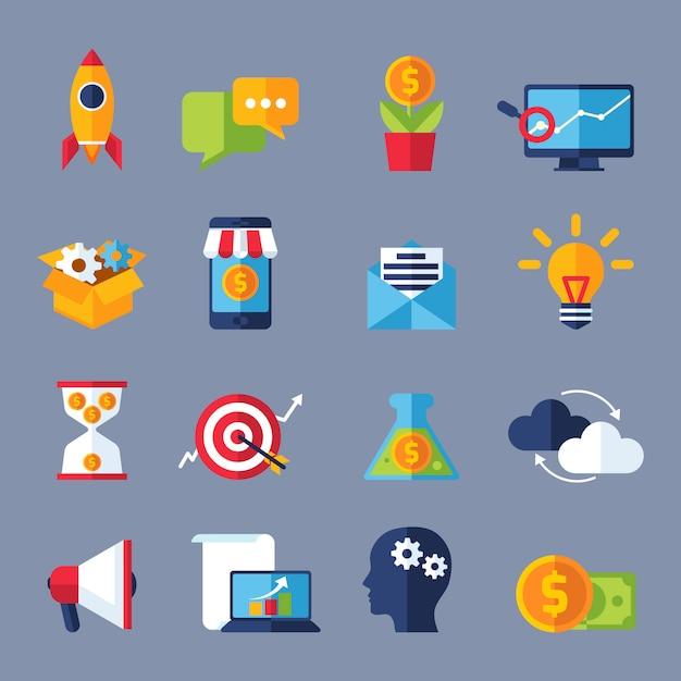 Digitale marketing pictogrammen Gratis Vector