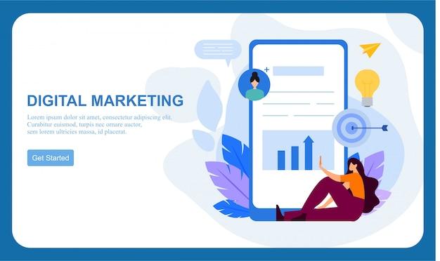 Digitale marketing smm, influencer online advertentie platte banner Premium Vector