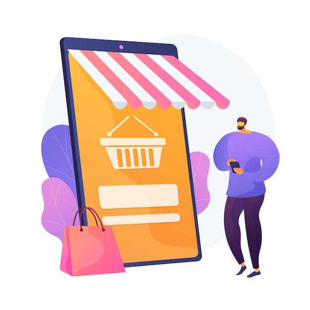 Digitale marktplaatsapplicatie. bedrijf op afstand. e-commerce, internetwinkel, mobiele markt. klant met behulp van smartphone stripfiguur. vector geïsoleerde concept metafoor illustratie Gratis Vector
