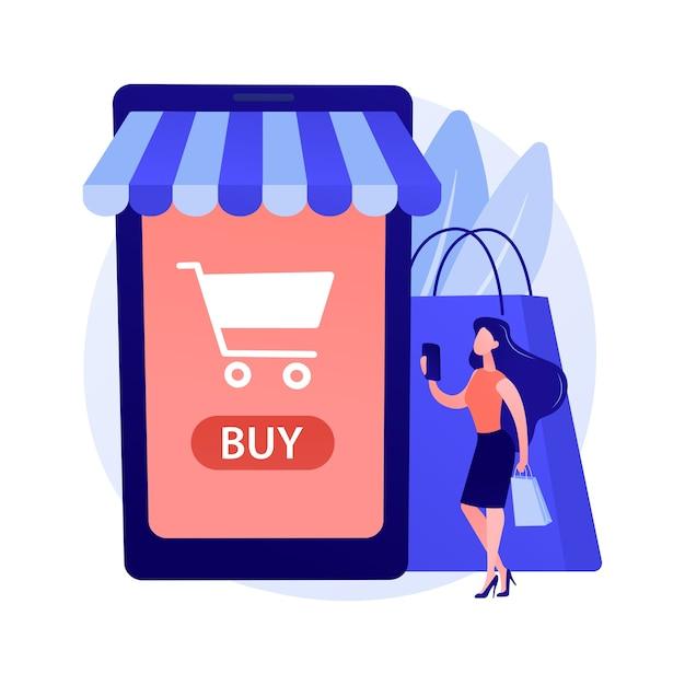 Digitale marktplaatsapplicatie. bedrijf op afstand. e-commerce, internetwinkel, mobiele markt. klant met behulp van smartphone stripfiguur. Gratis Vector