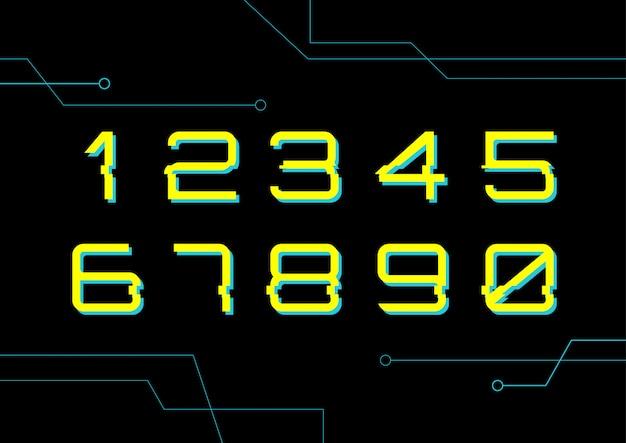 Digitale nummerreeks cybertechnologie Premium Vector