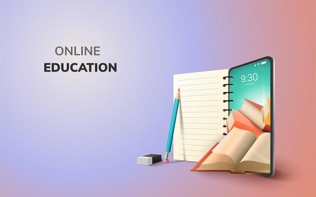 Digitale online onderwijsapplicatie wereldwijd leren op telefoon, mobiele website-achtergrond. sociaal afstandsconcept. decor by book lecture pencil eraser mobile. 3d illustratie - kopieer ruimte Premium Vector