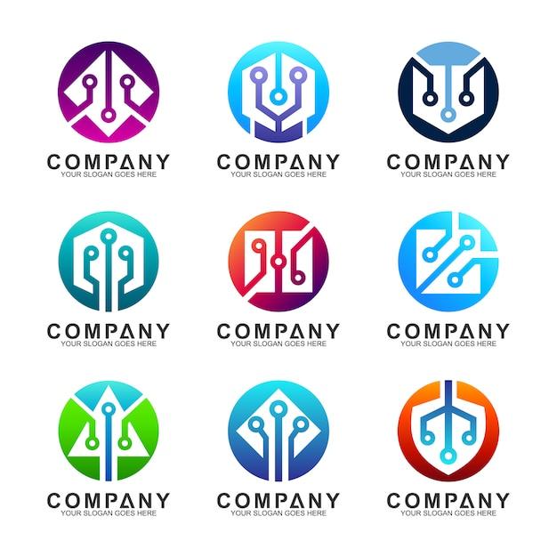 Digitale pictogrammen technologie en innovatie logo set Premium Vector
