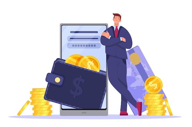 Digitale portemonnee, online betaling of mobiel bankieren illustratie met smartphone, zakenman, kaart, munten. Premium Vector