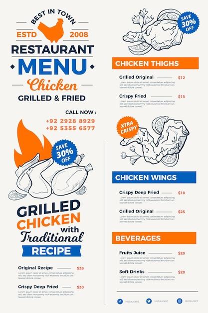 Digitale restaurant menu handgetekende stijl Premium Vector