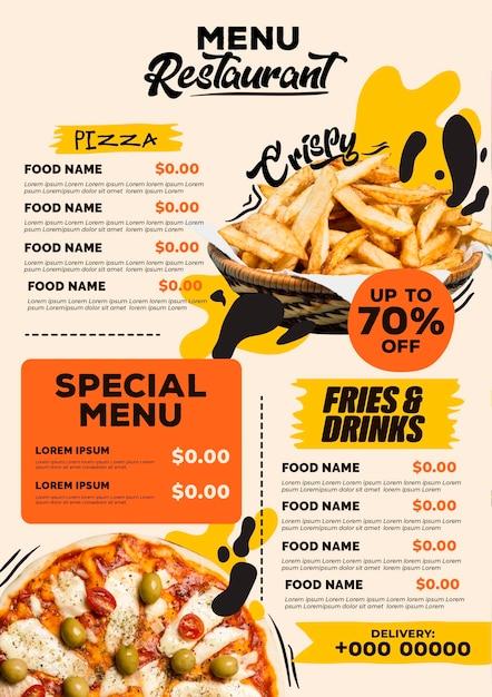 Digitale restaurant menu verticale indeling sjabloon met pizza en frietjes Premium Vector