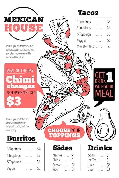Digitale restaurant menusjabloon in verticaal formaat Gratis Vector